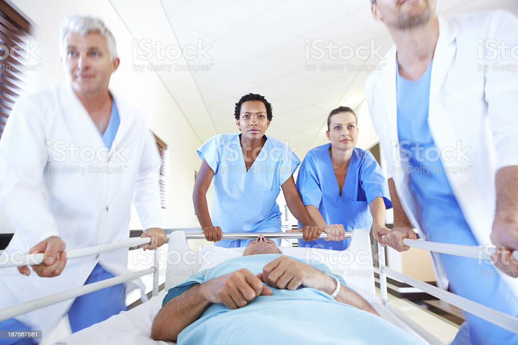 Heading for the operating room stock photo