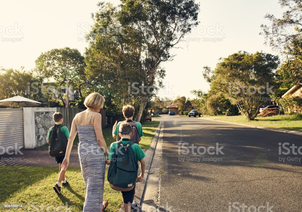 Heading home after school stock photo