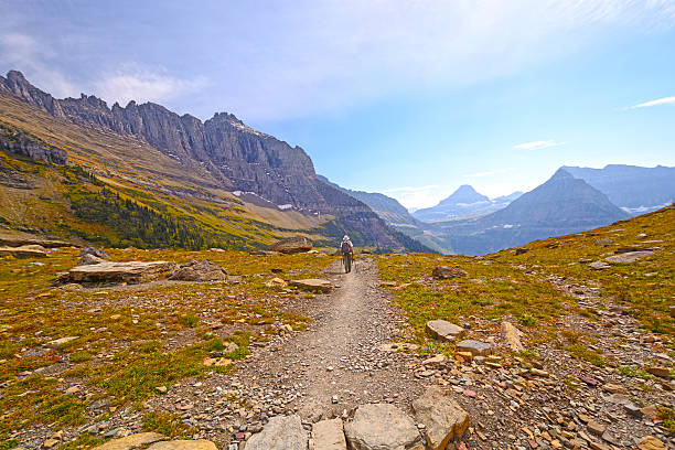 heading off to a mountain pass - logan pass stock pictures, royalty-free photos & images