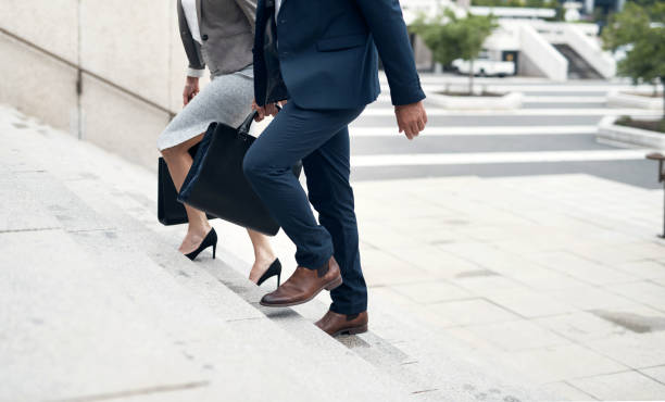 Heading to the next level in business stock photo
