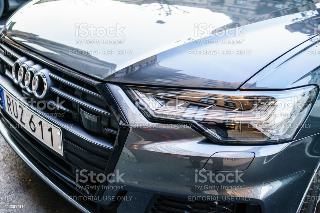 Headlamp Of New Generation Audi A6 2019 Parked On Goteborg City