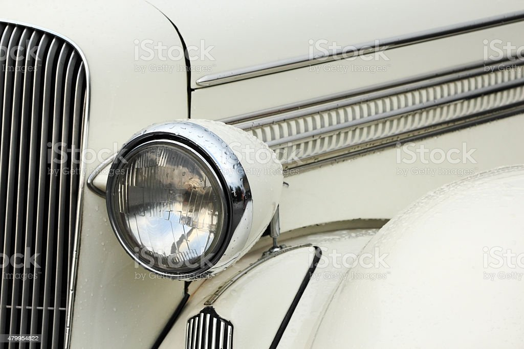 headlamp of vintage car stock photo