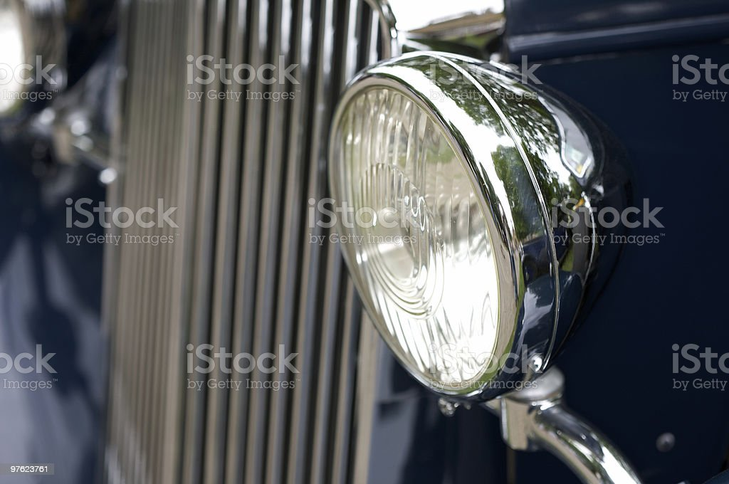 Headlamp on Blue Vintage Car royalty-free stock photo