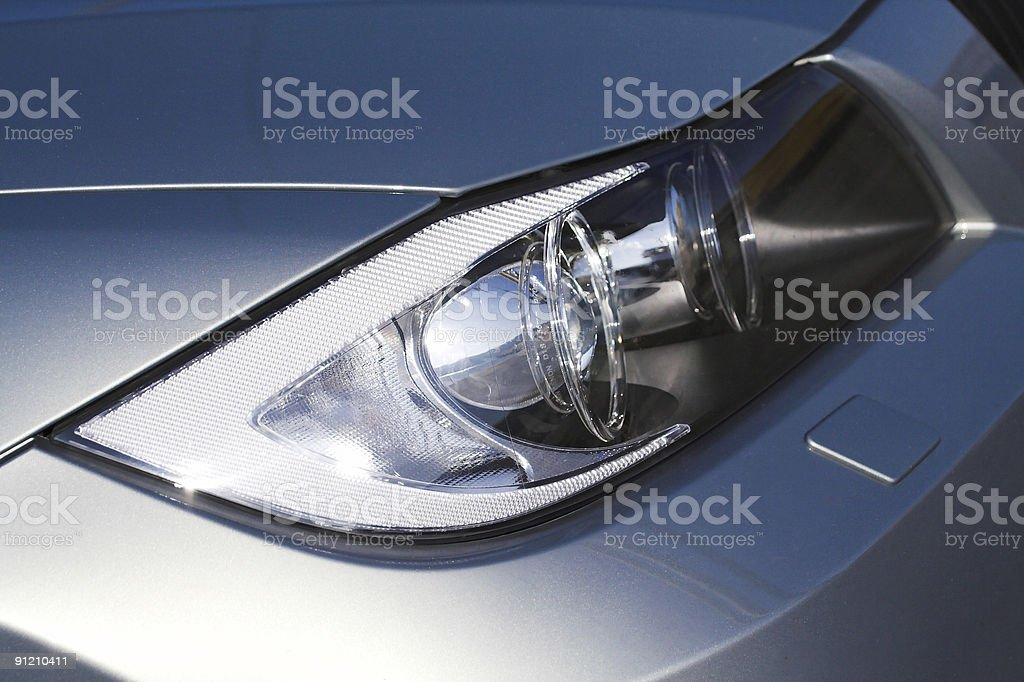 headlamp on silver car royalty-free stock photo