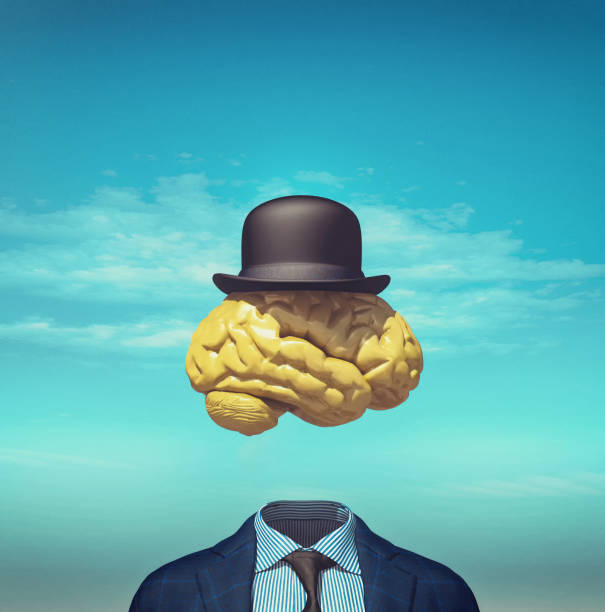 Headless business suit with a brain and a hat above. This is a 3d render illustration. stock photo