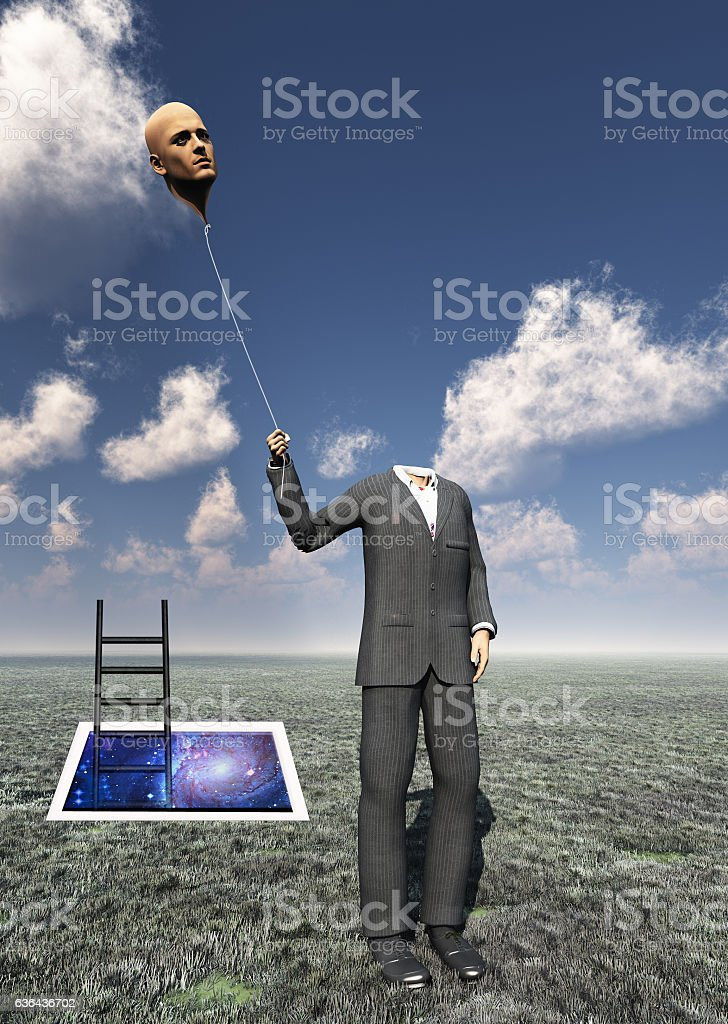 Headless Man with Floating Head Balloon stock photo