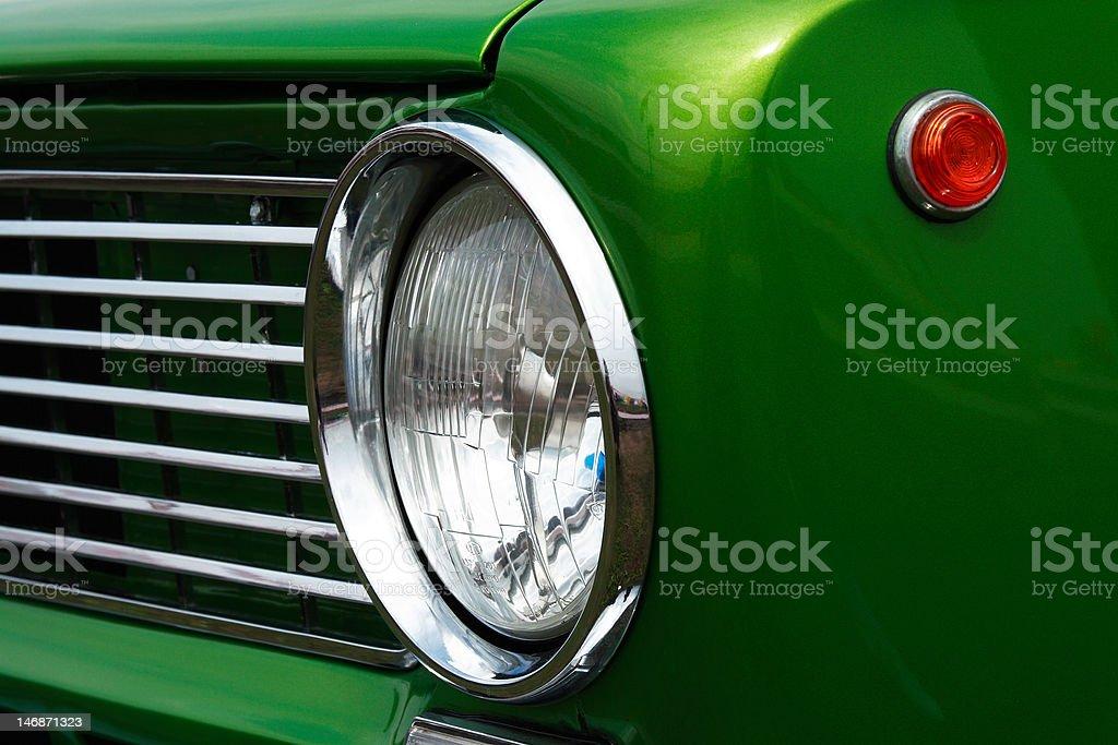 headlight of a classic car stock photo