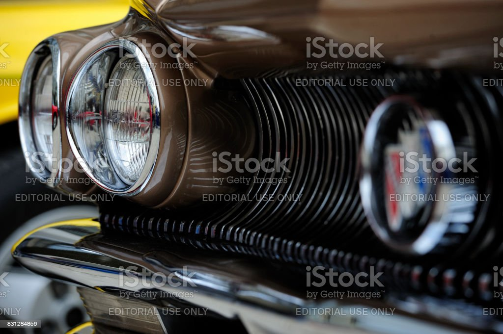Headlights of old-timer Buick electra 225 stock photo