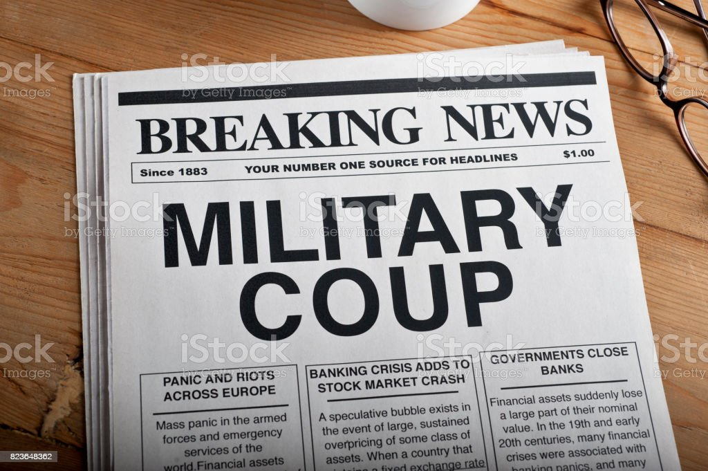 'MIITARY COUP' Headline stock photo