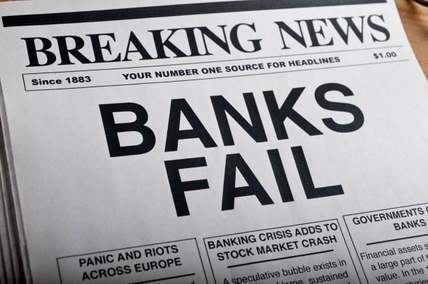 BANKS FAIL Headline stock photo