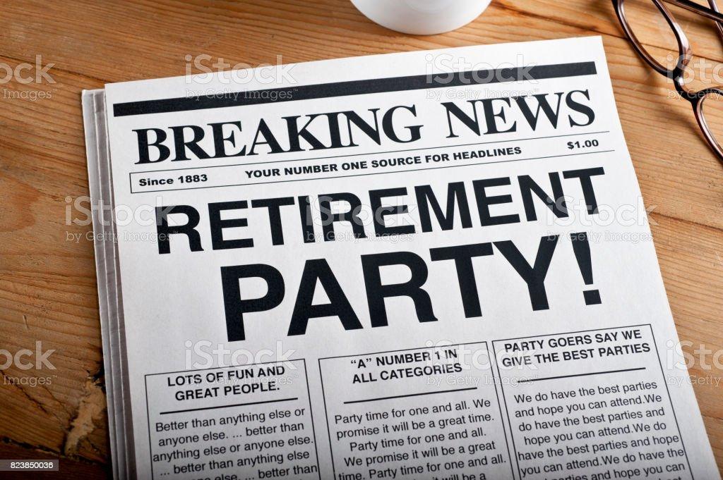 'RETIREMENT PARTY' Headline stock photo