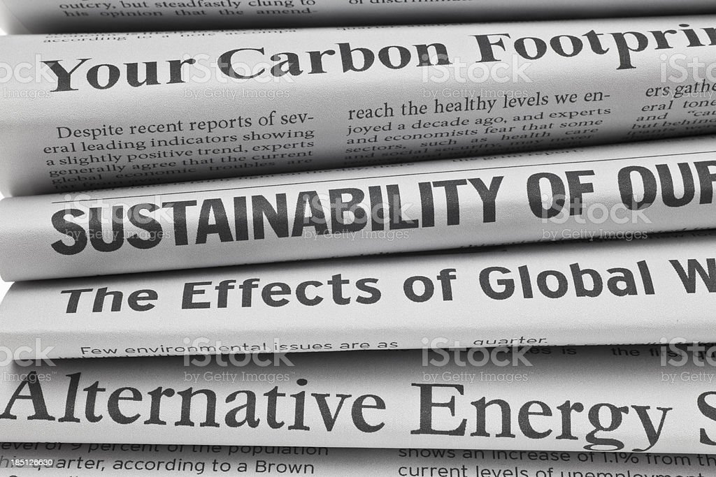 Headlines About Environmental Issues, Closeup stock photo