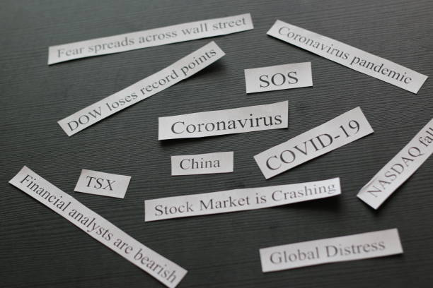 Headlines about how the coronavirus is causing the stock market to crash stock photo