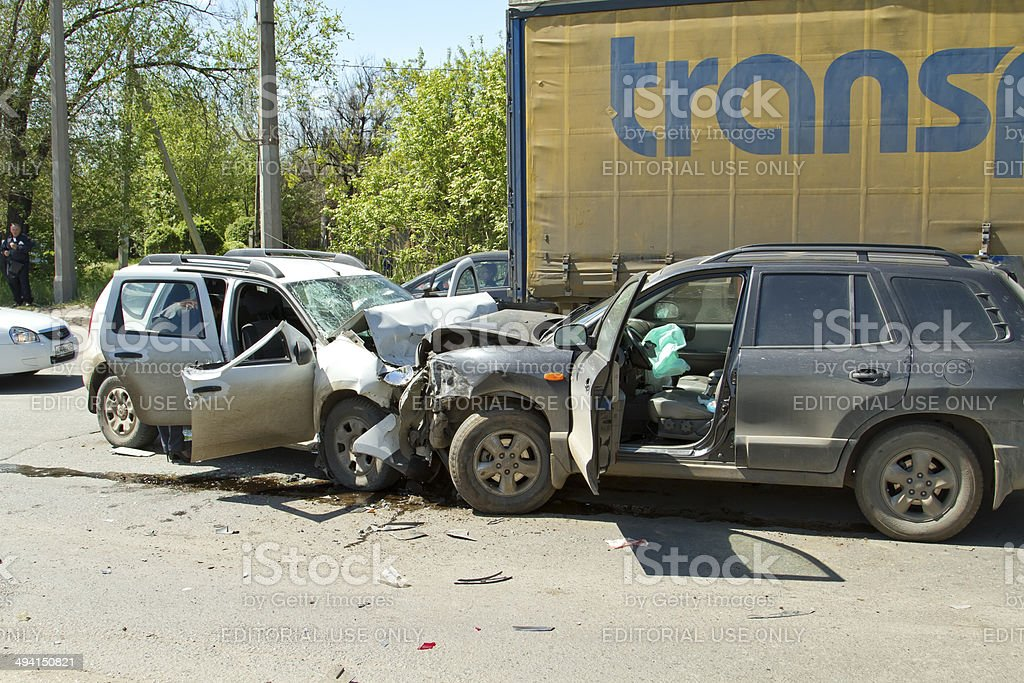Head-on collision of two cars stock photo