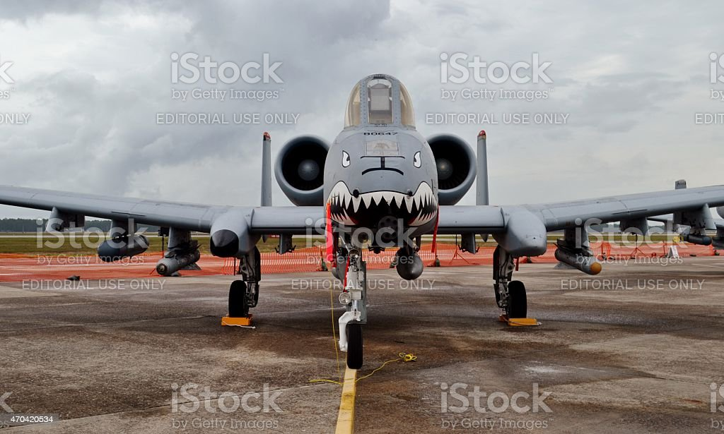 Head-on of A-10 Warthog/Thunderbolt II stock photo