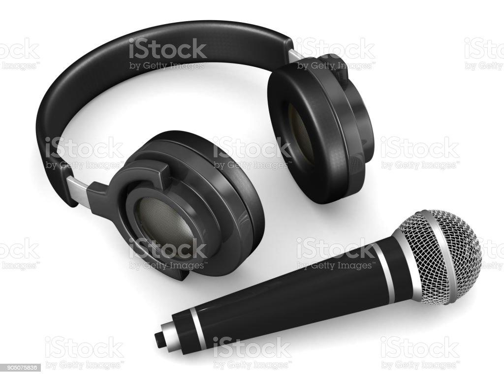 Kopfhörer und Mikrofon auf weißem Hintergrund. Isolierte 3D-Illustration – Foto