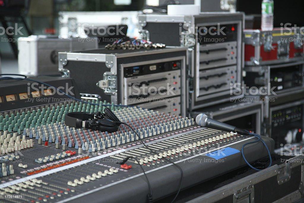 Headphone On Audio Mixing Board royalty-free stock photo
