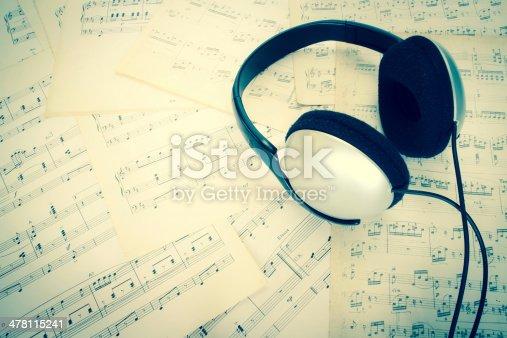 478117515 istock photo headphone on music sheet 478115241