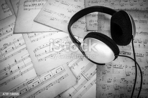 478117515 istock photo headphone on music sheet 478116555