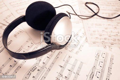 478117515 istock photo headphone on music sheet 478143817