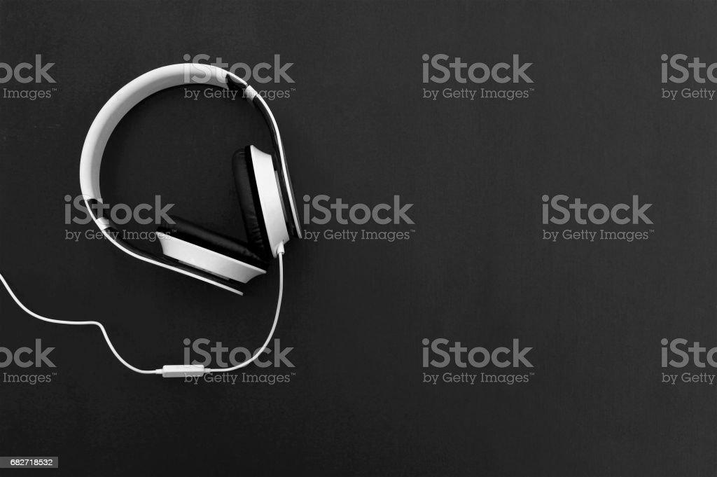 headphone  on wood table. stock photo