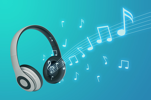 headphone with notes on blue background 3d rendering