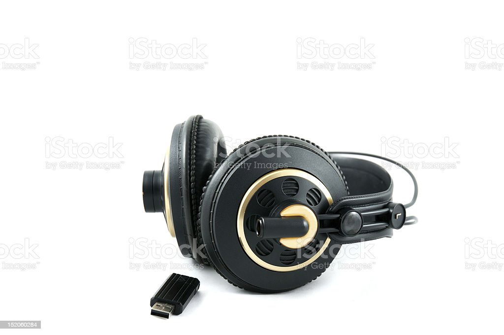 headphones and flash drive royalty-free stock photo