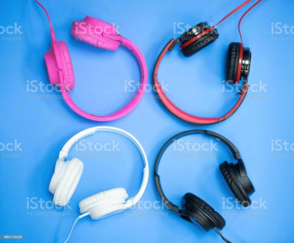 headphones and laptop royalty-free stock photo