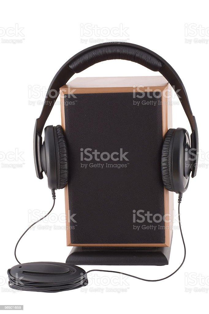 Headphones and  loud speaker royalty-free stock photo
