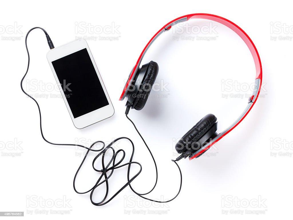 Auriculares y smartphone - foto de stock