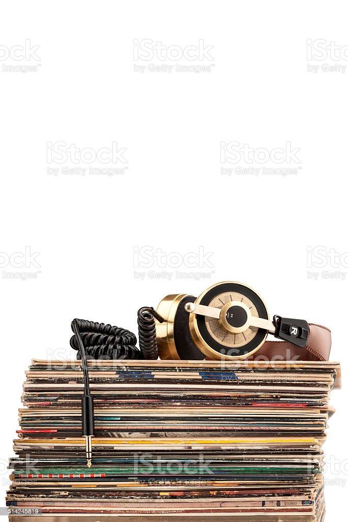 Headphones and vinyl records. stock photo
