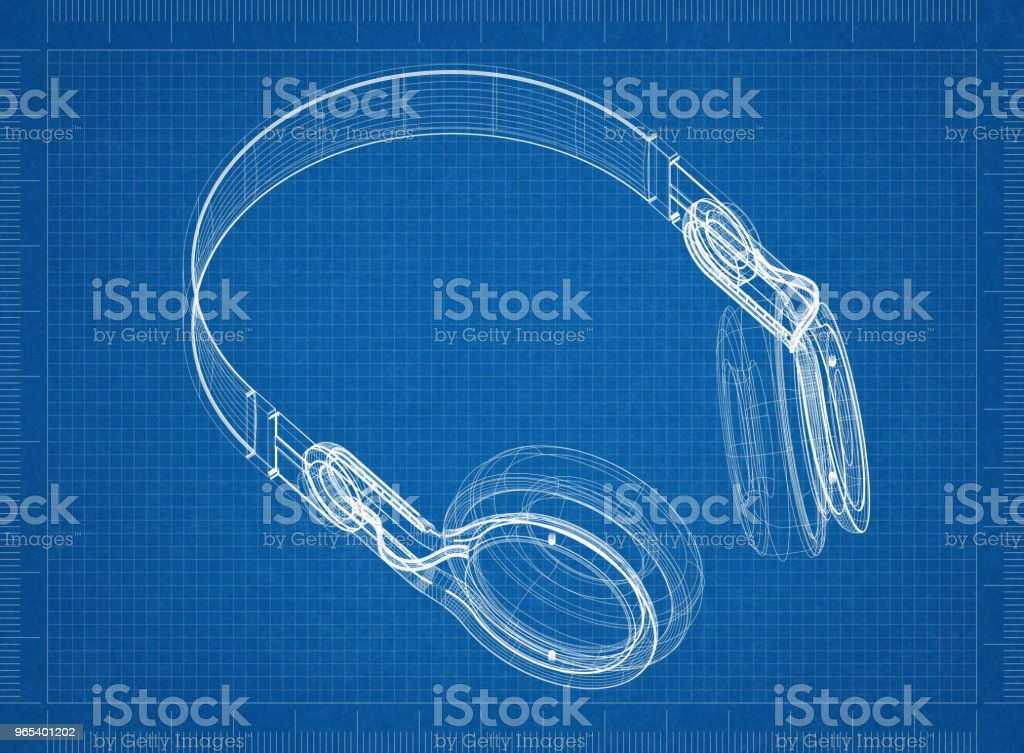 Headphones Architect blueprint zbiór zdjęć royalty-free