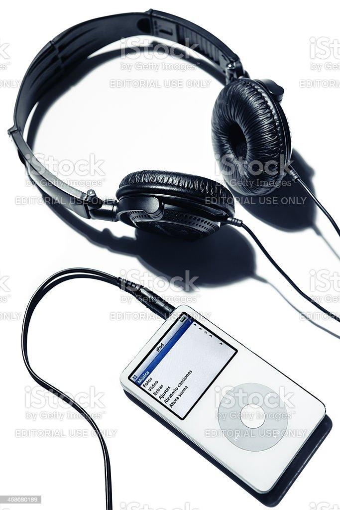 Headphones connected to Ipod stock photo