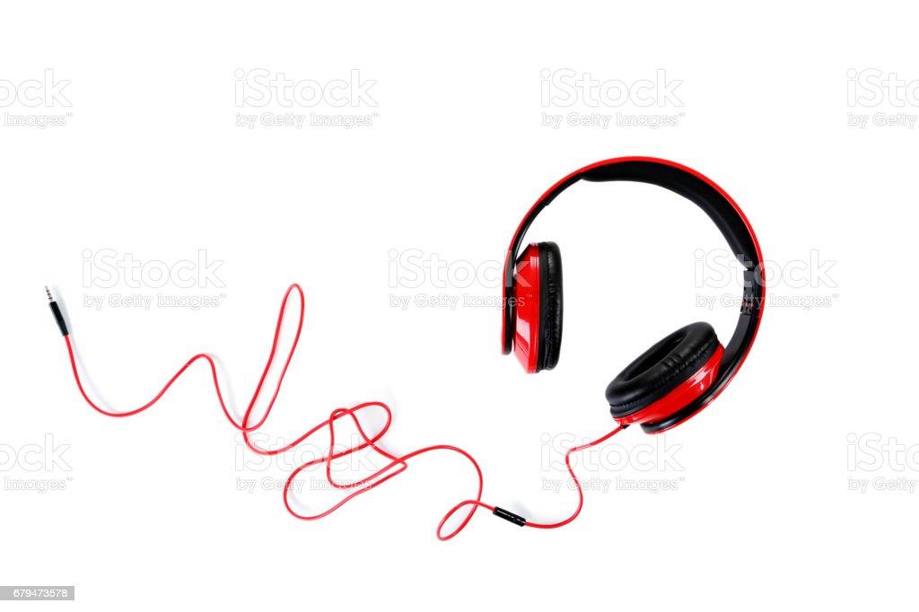 在一張白紙,孤立的耳機關閉 免版稅 stock photo