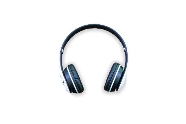 Headphones isolated. White wireless headphones. Front view photo. Isolated on white background,Headphones, White Color, White Background, Cut Out, Wireless Technology Front view of white headphones isolated on white background wireless headphones stock pictures, royalty-free photos & images