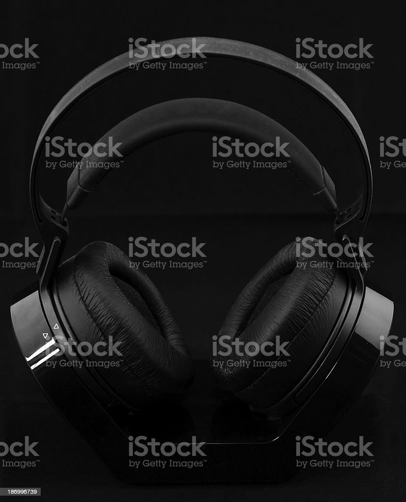 Headphones on black background royalty-free stock photo