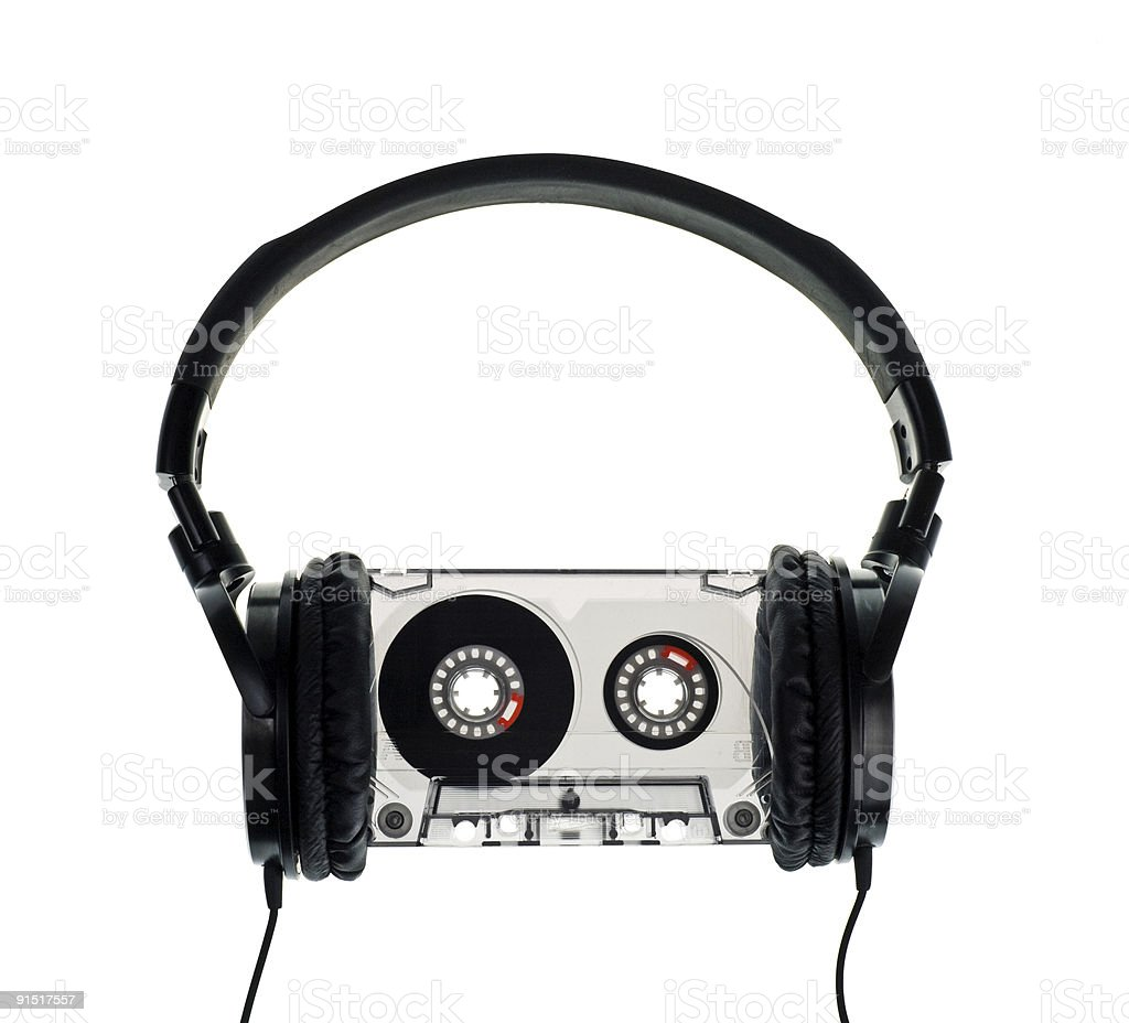 Headphones on Compact Cassette royalty-free stock photo