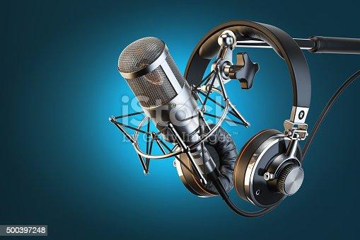 istock Headphones on microphone stand, professional studio 500397248