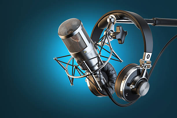 Headphones on microphone stand, professional studio Headphones on microphone stand, professional studio. 3d illustration radio dj stock pictures, royalty-free photos & images