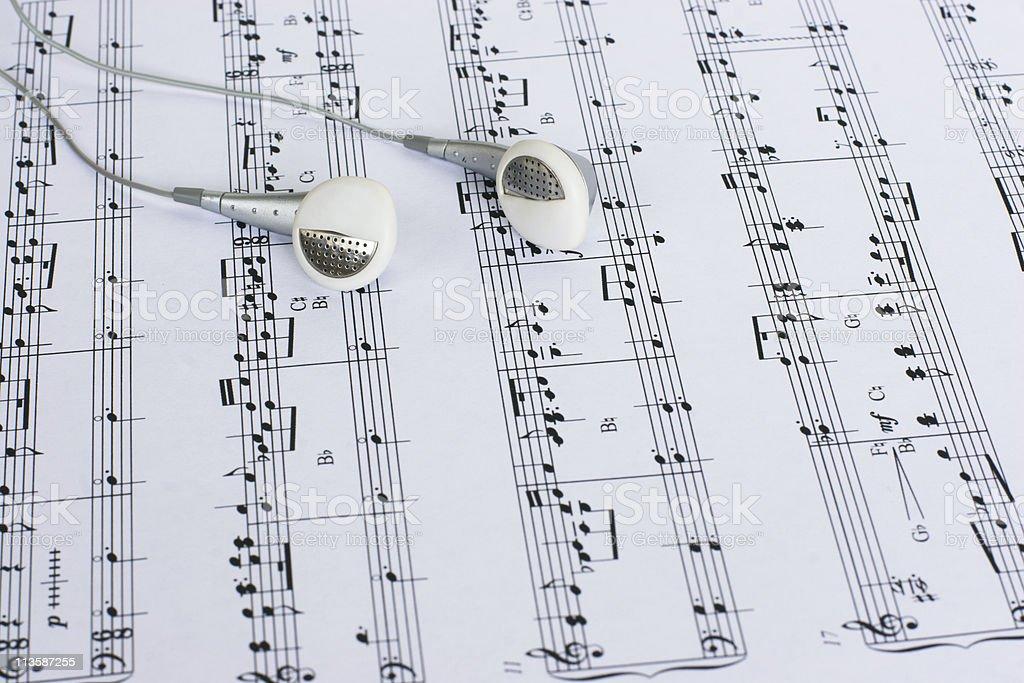 Headphones on Sheet Music stock photo