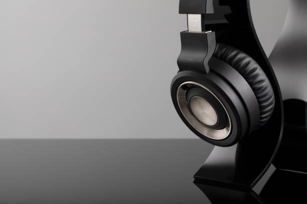 Headphones on Stand stock photo