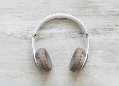 Headphones on wooden floor