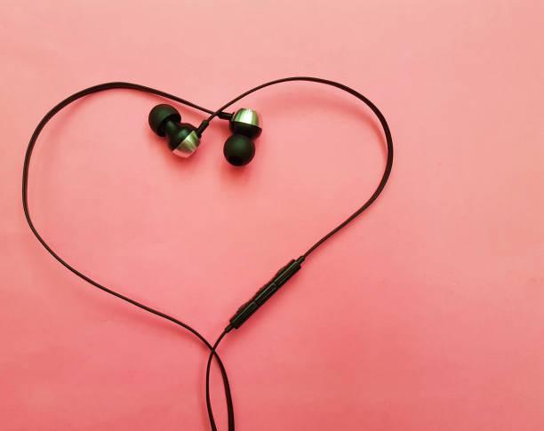 headphones pink background, heart stock photo