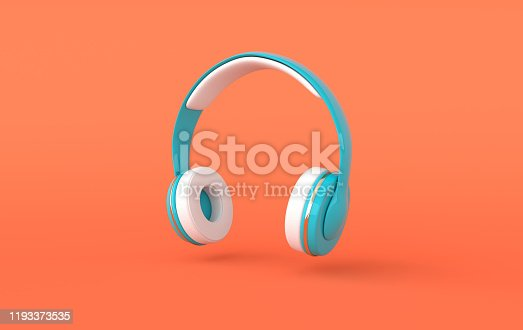 Headphones realistic 3d render. Music lover minimalistic background with blue, white and golden wireless audio earphones
