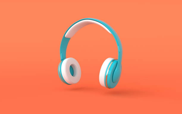 Headphones realistic 3d render. Music lover minimalistic background with blue, white and golden wireless audio earphones Headphones realistic 3d render. Music lover minimalistic background with blue, white and golden wireless audio earphones stereoscopic image stock pictures, royalty-free photos & images
