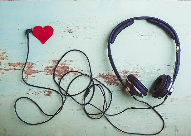 headphones symbol Valentine stock photo