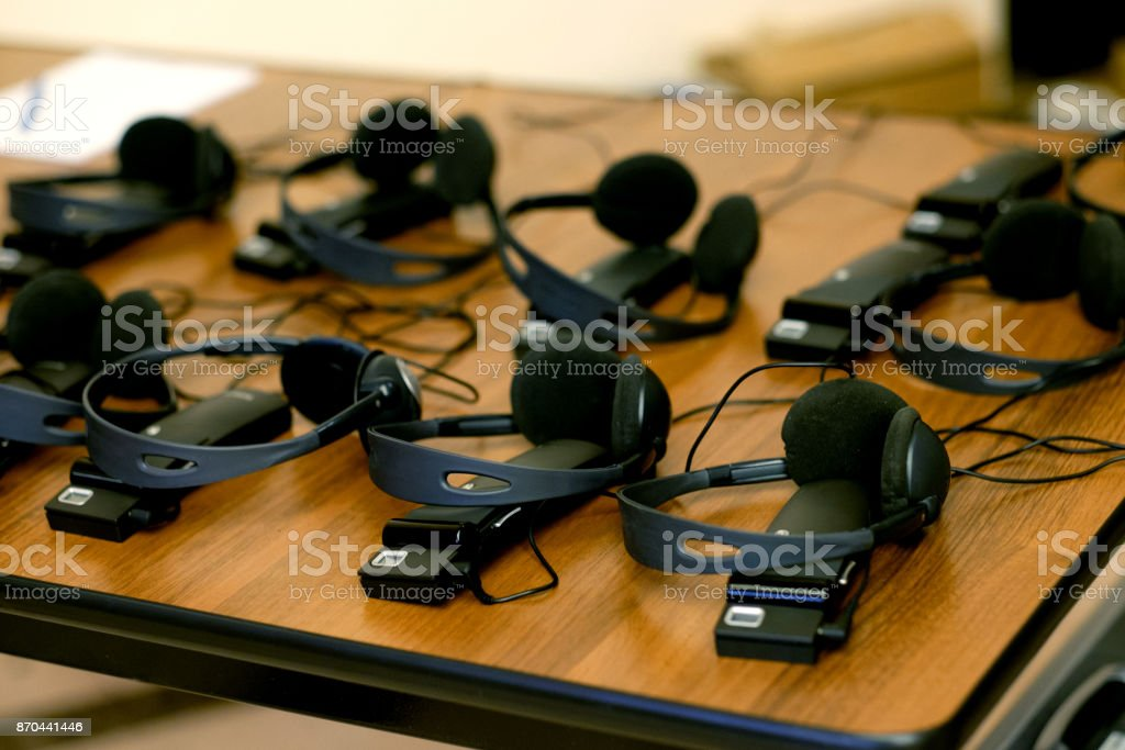 headphones used for simultaneous translation equipment stock photo