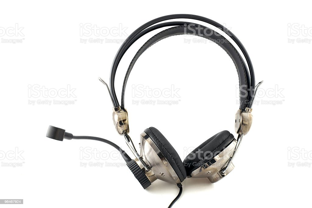 Headphones with a microphone royalty-free stock photo
