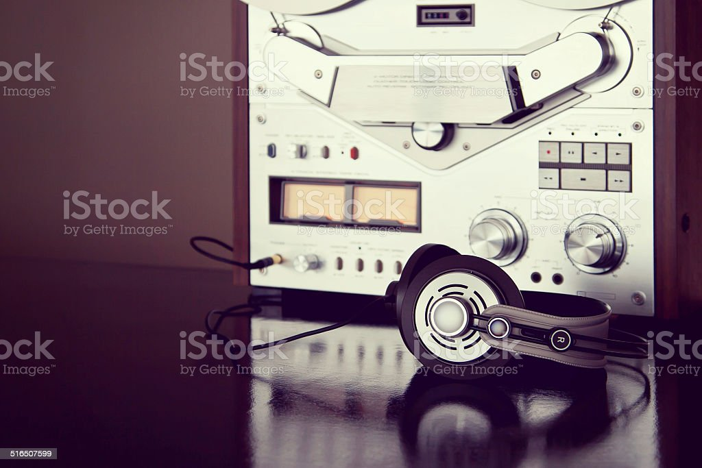 127debe9e79b Headphones with Analog Stereo Open Reel Tape Deck Recorder Vintage - Stock  image .