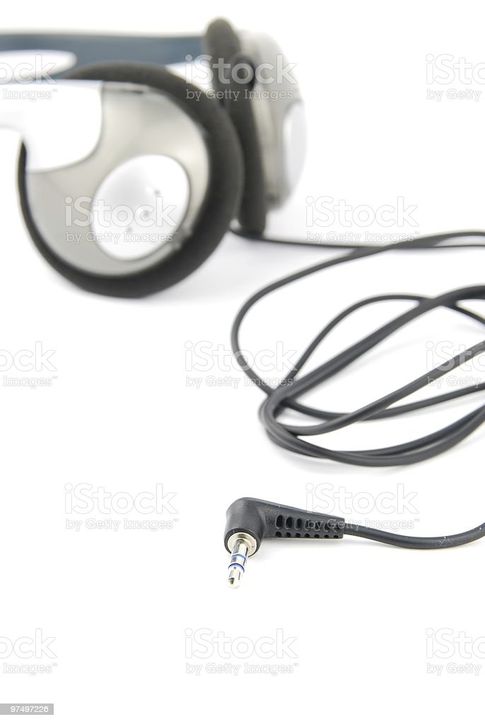 Headphones with cord on white royalty-free stock photo